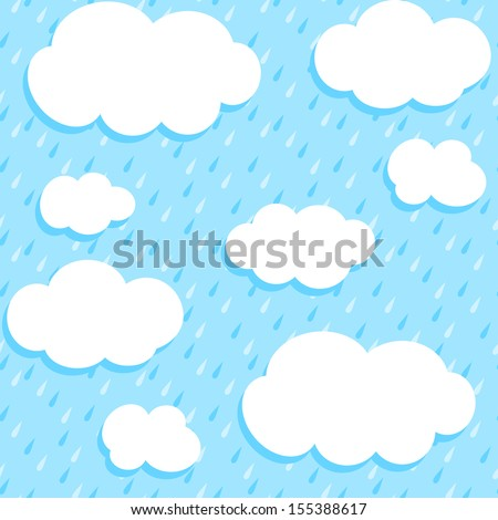 Autumn pattern with white clouds and rain. Seamless vector background. - stock vector