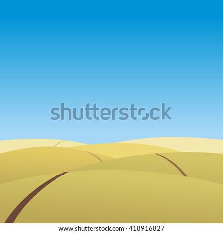 Autumn. Prairie.The road to the field.Landscape. Yellow hills. Autumn grassland. Vector illustration. - stock vector