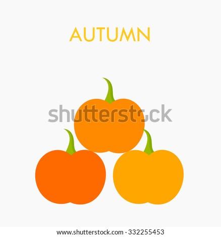 Autumn pumpkins stack. Vector illustration - stock vector