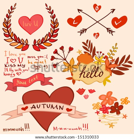 autumn romantic collection with hearts and flowers - stock vector