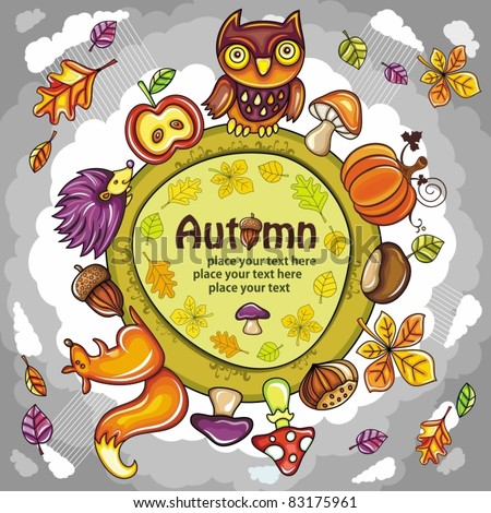 Autumn round planet with cute animals, leaves, mushrooms and other autumnal design elements. you can place your  text inside of the round frame. - stock vector