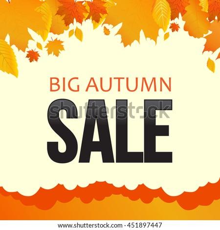 Autumn sale, foliage, banner. Vector illustration. - stock vector
