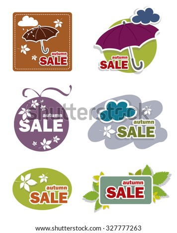 Autumn sale label, sticker, button, sign - stock vector