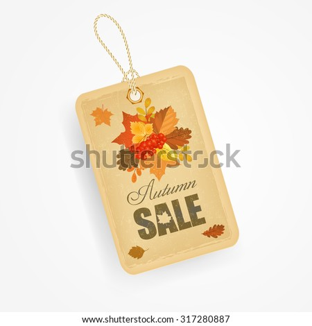 Autumn sale sticker with autumn leaves in vintage style. Vector illustration. - stock vector