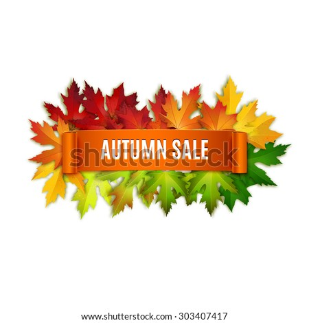 Autumn sale vector banner, label, ribbon, colorful leaves background - stock vector
