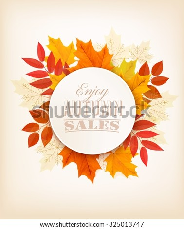 Autumn Sales Banner With Colorful Leaves. Vector. - stock vector