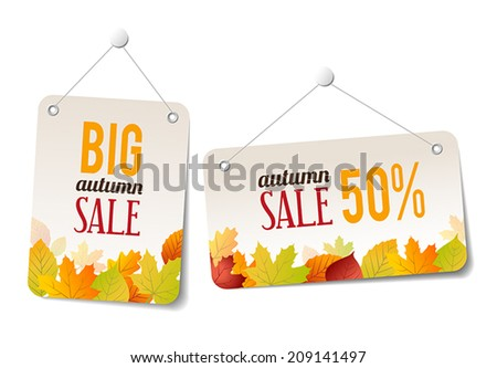 Autumn sales labels - stickers for web or print - stock vector
