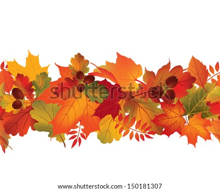 Autumn seamless background. Fall repeating border. Nature wallpaper set. Leaves vector collection. - stock vector
