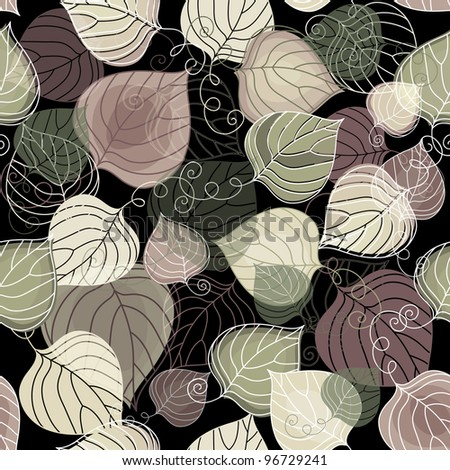 Autumn seamless dark floral pattern with transparent leaves (vector EPS 10) - stock vector