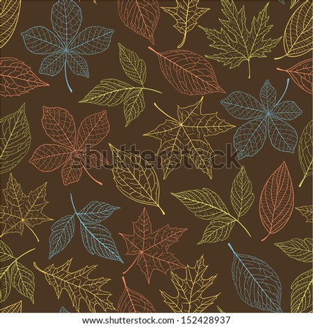 Autumn seamless pattern with colorful leaves - stock vector