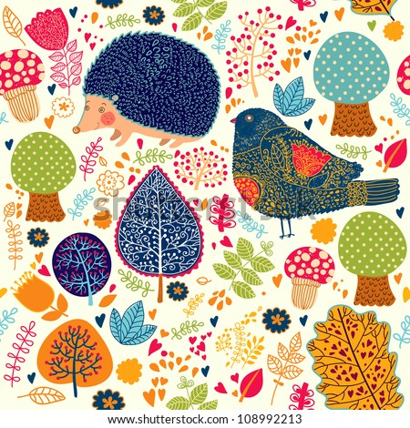 Autumn seamless pattern with flowers, trees, leaves and crew cut - stock vector