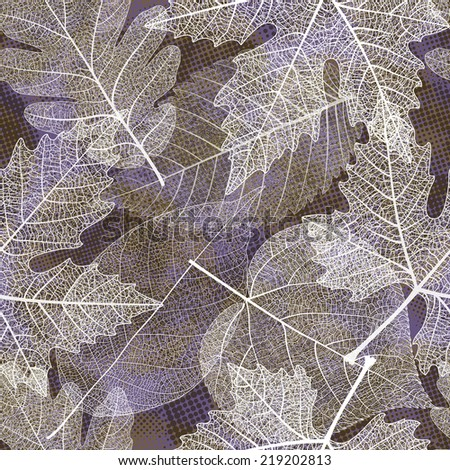 Autumn seamless pattern with leaves. Vector, EPS 10.  - stock vector