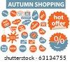 autumn shopping stickers. vector - stock vector