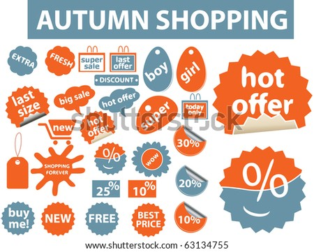autumn shopping stickers. vector - stock vector