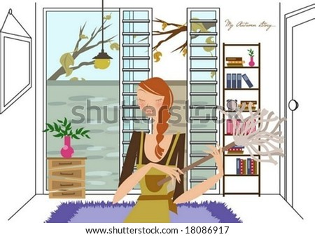 Autumn Story - a pretty woman clean up a house with a duster on white background with an autumn view through an open window : vector illustration - stock vector
