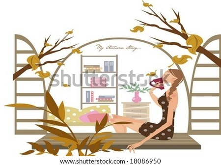 Autumn Story - a pretty woman relax a house with a cup of coffee and a beautiful seasonal scene on white background with interior view of a room through an open window : vector illustration - stock vector