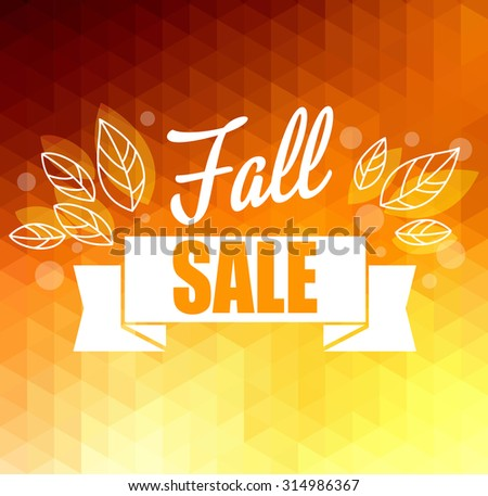 Autumn sun triangle vector background with leaves. Vector illustration Eps10. Big sale - stock vector