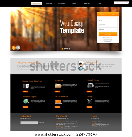 Autumn Theme Website Template - stock vector