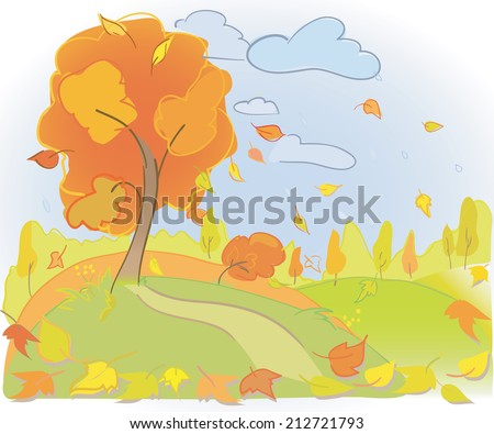 Autumn tree and sky. Landscape. Rain and yellow leaves Meadow and forest. Vector illustration - stock vector