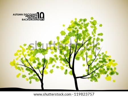 autumn tree background, eps10 - stock vector