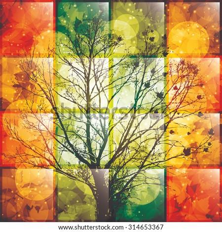 Autumn tree background.Vector illustration - stock vector