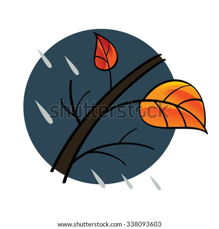 Autumn - tree, red and yellow leaf, rainy weather - stock vector