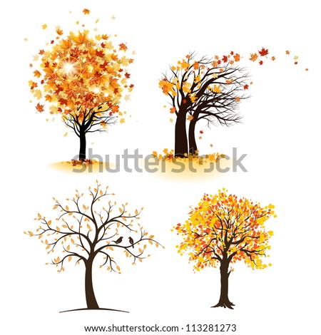 Autumn tree set - stock vector