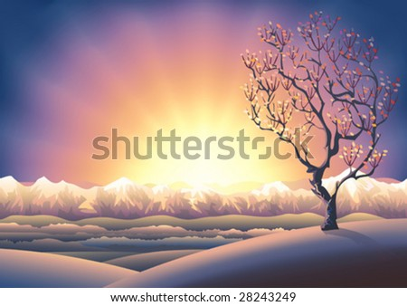 Autumn tree sunset landscape (other landscapes are in my gallery) - stock vector