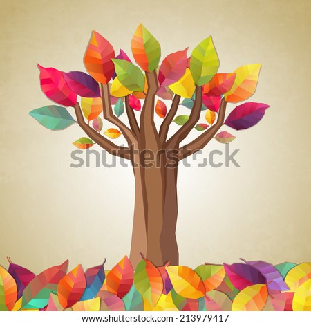 Autumn tree. Vector illustration - stock vector