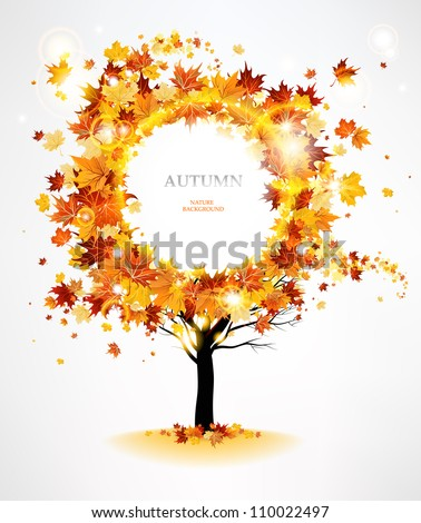 Autumn tree with beautiful flying leaves with space for text - stock vector