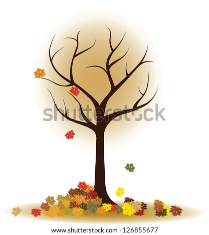 Autumn tree with falling leaves, maple leaves - stock vector