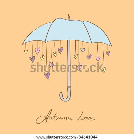 Autumn umbrella with hearts - stock vector