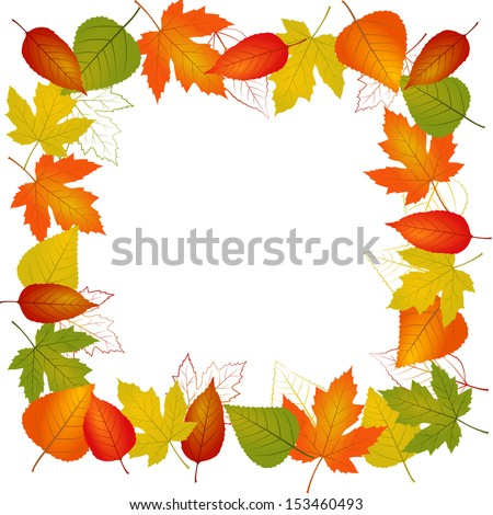 Autumn vector leaf border illustration isolated from background - stock vector