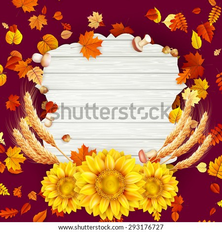 Autumn vintage greeting card on colorful leaves background copy space. EPS 10 vector file included - stock vector