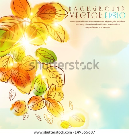 Autumn watercolor background.The illustration contains transparency and effects. EPS10 - stock vector