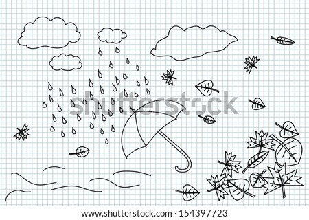 Autumn weather and umbrella hand drawing illustration - stock vector