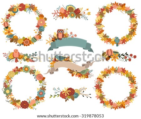 Autumn Wreaths and Fall Floral Design Elements Vector Set - stock vector