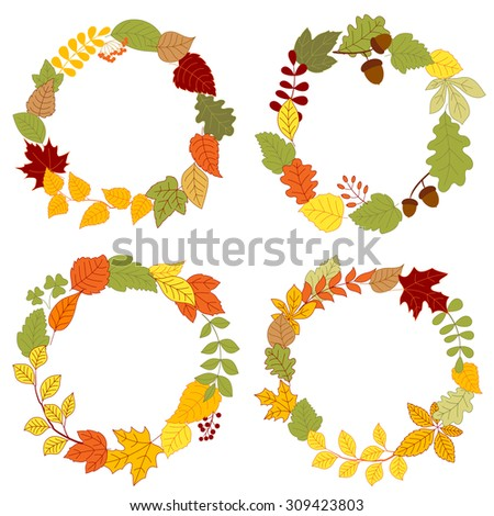 Autumn wreaths composed with colorful tree branches, fall and clover leaves, dry acorns, orange rowanberry bunches and forest berries - stock vector