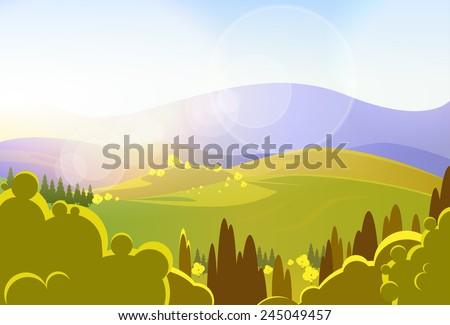 autumn yellow mountains tree valley landscape vector illustration - stock vector