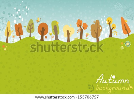 Autumnal background. Trees, leaves, rain and various elements for your design. There are place for your text. - stock vector