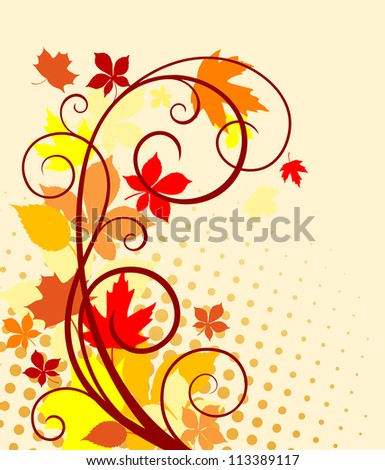 Autumnal background with red, yellow and orange leaves for seasonal design. Jpeg version also available in gallery - stock vector