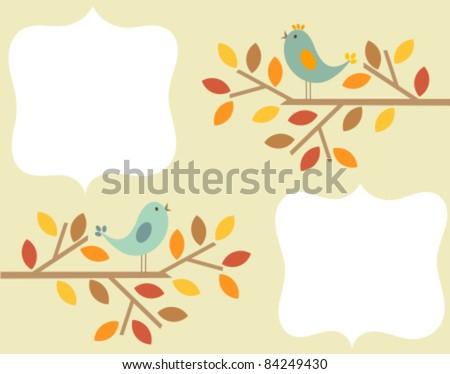 Autumnal birds singing - vintage frame background - stock vector