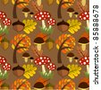 Autumnal forest life seamless pattern - stock vector