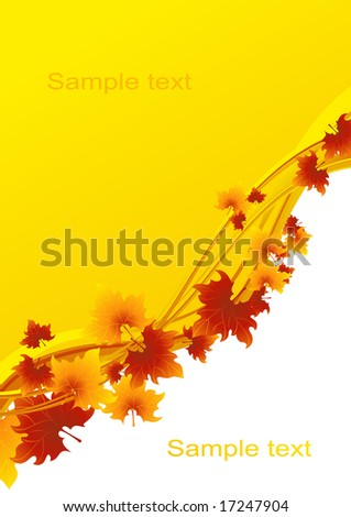 Autumnal leaf background, vector illustration, EPS file included - stock vector