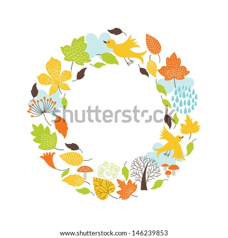 Autumnal round frame  - stock vector