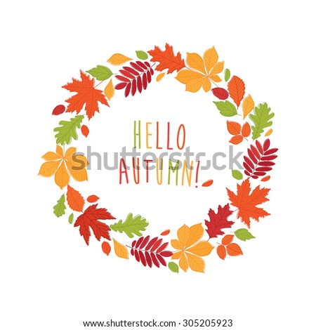 Autumnal round frame. Wreath of autumn leaves. Background with hand drawn autumn leaves. Fall of the leaves. Sketch, design elements. Vector illustration. - stock vector