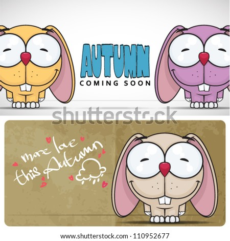 Autumnal vector card with funny cartoon bunny and text. - stock vector