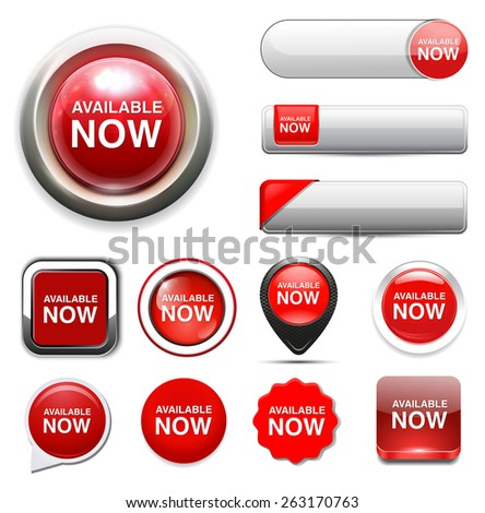 available now button - stock vector