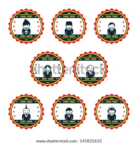 avatar badge graphic art man set - stock vector