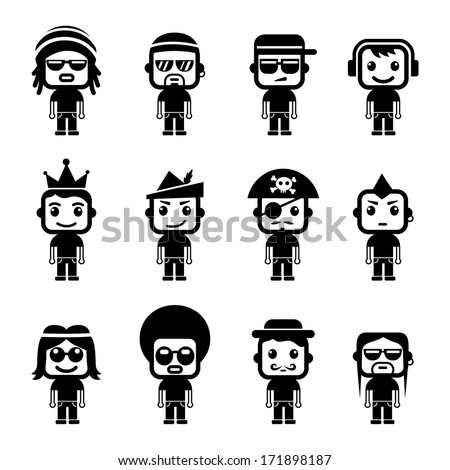 Avatar character set - stock vector
